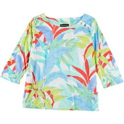 Thomas & Olivia Womens Wild Leaves 3/4 Top