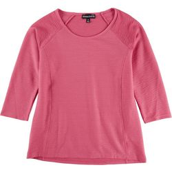 Thomas & Olivia Womens Lined Textured Round Neck Top