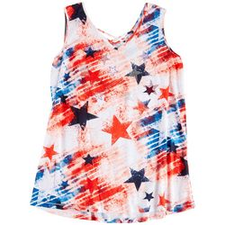 Thomas & Olivia Womens Americana Tie-Dye Flag Top