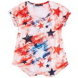 Womens Americana Stars Short Sleeves Top