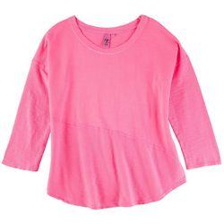 Hot Cotton Womens Solid Scoop Neck 3/4 Sleeve Top