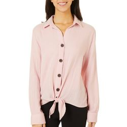 Beach Lunch Lounge Womens Solid Tie Front Button Down Top