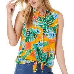 Beach Lunch Lounge Womens Palm Leaf Tie Front Sleeveless Top