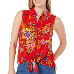 Beach Lunch Lounge Womens Floral Tie Front Sleeveless Top