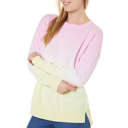 Womens Tie Dye Ombre Round Neck Sweater