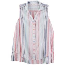 Womens Striped Button Down Sleeveless Top