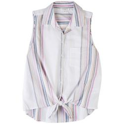 Womens Striped Tie Front Sleeveless Top