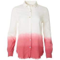 Beach Lunch Lounge Womens Dip Dye Long Sleeve Top