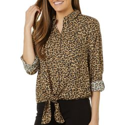 Beach Lunch Lounge Womens Leopard Tie Front Long Sleeve Top