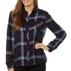Beach Lunch Lounge Womens Night Sky Plaid Button Down Top