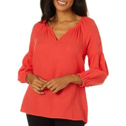 Beach Lunch Lounge Womens Solid Split Neckline Top