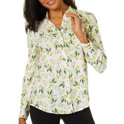 Beach Lunch Lounge Womens Lemon Print Long Sleeve Top