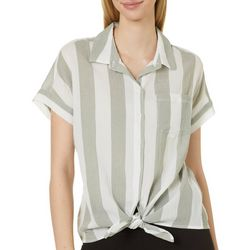 Beach Lunch Lounge Womens Vertical Striped Tie Front Top
