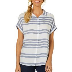 Beach Lunch Lounge Womens Striped Cuff Sleeve Top