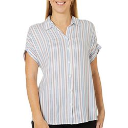 Beach Lunch Lounge Womens Vertical Striped Button Down Top