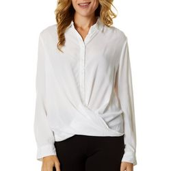 Beach Lunch Lounge Womens Solid Twist Front Long Sleeve Top