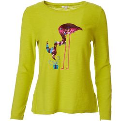 Cabana Cay Womens Solid Flamingo Gift Sequin Top