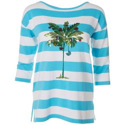 Cabana Cay Womens Stripe Palm Tree Sequin Top