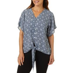 Cabana Cay Womens Tile Print Short Sleeve Tie