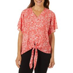 Cabana Cay Womens Leaf Print Short Sleeve Tie Front Top