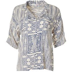Cabana Cay Womens Dotted Graphic Print Split Neckline Top
