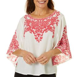 Cabana Cay Womens Scroll Print Short Sleeve Top
