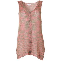 Womens Knit Button Down Sleeveless Vest