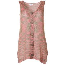 Womens Knit Button Down Sleeveless Vest