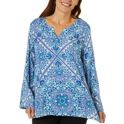 Cabana Cay Womens Tile Print Split Neck Tunic Top