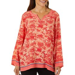 Cabana Cay Womens Mixed Animal Print Split Neck Tunic Top