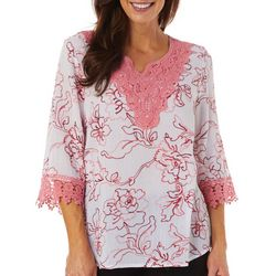 Cabana Cay Womens Solid Embroidered Split Neck Tunic Top