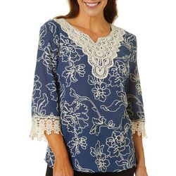 Cabana Cay Womens Solid Embroidered Split Neck Tunic