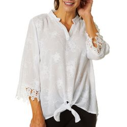Cabana Cay Womens Solid Floral Embroidered Tunic Top