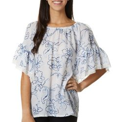 Cabana Cay Womens Solid Floral Embroidered Peasant Top