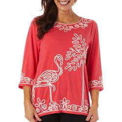 Cabana Cay Womens Solid Flamingo Embroidered Top