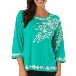 Cabana Cay Womens Solid Palm Leaf Embroidered Top