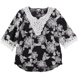 Cabana Cay Womens Floral Short Sleeve Top