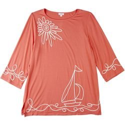 Cabana Cay Womens Sailboat Print Scoop Neck Top