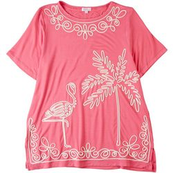 Cabana Cay Womens Embroidered Flamingo Palm Tree Top