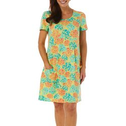 Sunbay Womens Seashell Print Short Sleeve Dress