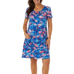Sunbay Womens Flamingo Print Short Sleeve Dress