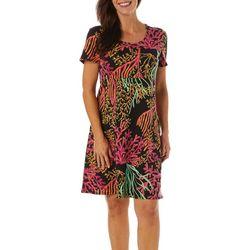 Sunbay Womens Coral Reef Print Short Sleeve Dress