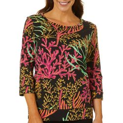 SunBay Womens Tropical Coral Reef Print Round Neck Top