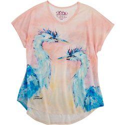 Leoma Lovegrove Womens Blue Birds T-Shirt