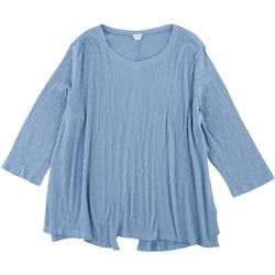 SunBay Womens Solid Gauze Asymmetrical Hem Tunic Top