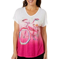 Leoma Lovegrove Womens Bicycle Ombre Dolman T-Shirt