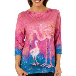 Leoma Lovegrove Womens Flamingo 3/4 Sleeve Crew Top