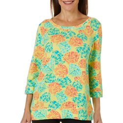 SunBay Womens Tropical Shells Round Neck Top