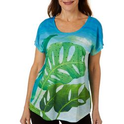 SunBay Womens Ocean Palms Dolman Sleeve Top