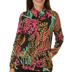 SunBay Womens Coral Kingdom Zip Up Long Sleeve Jacket
